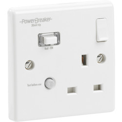 Power Breaker RCD Switched Socket White 1 Gang 13A 30mA - 96512 - from Toolstation