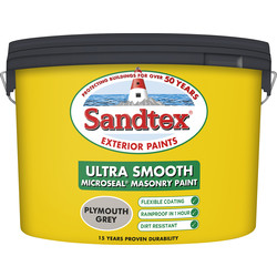 Sandtex Ultra Smooth Masonry Paint 10L Plymouth Grey