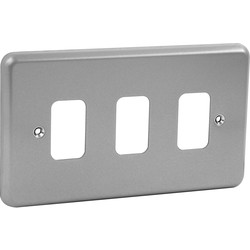 MK MK Grid Plus Metal Front Plate 3 Gang - 96978 - from Toolstation
