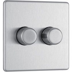 BG BG Screwless Flat Plate Brushed Stainless Steel Dimmer Switch 2 Gang 2 Way - 97060 - from Toolstation