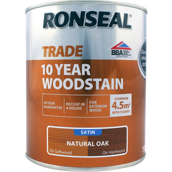 Ronseal Ronseal 10 Year Exterior Satin Woodstain 750ml Natural Oak - 97157 - from Toolstation