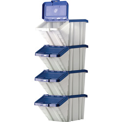Barton Robust Storage Bin 50L with Lid 345 x 400 x 635mm - Blue Lid - 97165 - from Toolstation