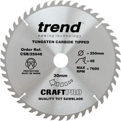 Craft Trend Craft Circular Saw blade 250 x 48T x 30mm CSB/25048 - 97185 - from Toolstation
