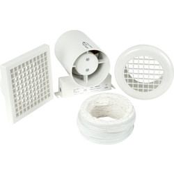 150mm Part L Inline Shower Extractor Fan Kit with Timer