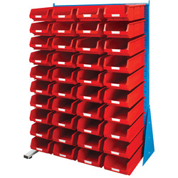 Barton Barton Steel Louvre Panel Adda Stand with Red Bins 1600 x 1000 x 500mm with 40 TC4 Red Bins - 97372 - from Toolstation
