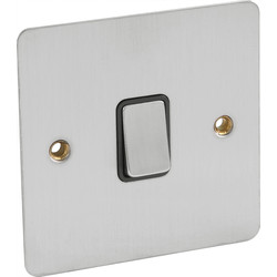 Flat Plate Satin Chrome 10A Switch Bell Push - 97492 - from Toolstation