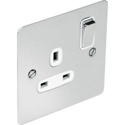 Flat Plate Polished Chrome 13A Socket 1 Gang DP - 97529 - from Toolstation