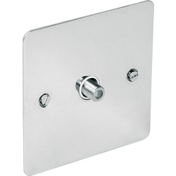 Axiom Flat Plate Polished Chrome TV / Satellite Socket Satellite Single - 97635 - from Toolstation