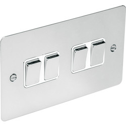 Flat Plate Polished Chrome 10A Switch 4 Gang 2 Way - 98098 - from Toolstation