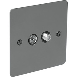 Axiom Flat Plate Black Nickel TV / Satellite Socket Outlet Satellite/TV - 98134 - from Toolstation