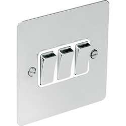 Flat Plate Polished Chrome 10A Switch 3 Gang 2 Way - 98157 - from Toolstation