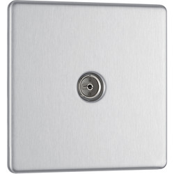 BG BG Screwless Flat Plate Brushed Stainless Steel TV Sockets 1 Gang Coaxial - 98311 - from Toolstation