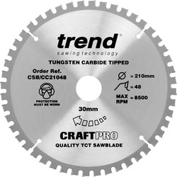 Craft Trend Craft Circular Saw Blade 210 x 48T x 30mm CSB/CC21048 - 98459 - from Toolstation