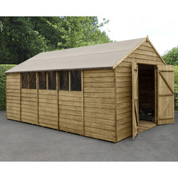 Forest Forest Garden Overlap Pressure Treated Shed - Double Door 10' x 15' - 98499 - from Toolstation