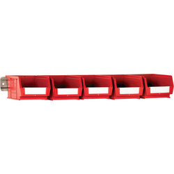 Barton Steel Wall Rail with Red Bins 47 x 590 x 5mm - 98671 - from Toolstation