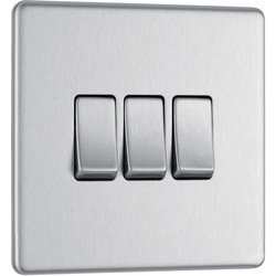BG BG Screwless Flat Plate Brushed Stainless Steel 10AX Light Switch 3 Gang 2 Way - 98691 - from Toolstation