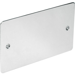 Flat Plate Polished Chrome Blank Plate 2 Gang - 98801 - from Toolstation