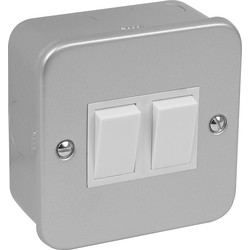 Axiom Metal Clad 10A Switch 2 Gang 2 Way