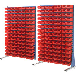 Barton Barton Steel Louvre Panel Adda Stand with Red Bins 1600 x 1000 x 500mm with 120 TC2 Red Bins - 98991 - from Toolstation