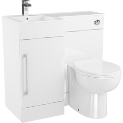 Cassellie Single Door L-Shaped Bathroom Unit Gloss White Left Hand - 99016 - from Toolstation