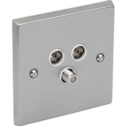 Satin Chrome / White TV / Satellite Socket Outlet Satellite, TV, FM - 99103 - from Toolstation