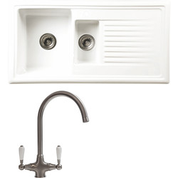 Reginox Reginox 1 1/2 Bowl Ceramic Kitchen Sink & Drainer White With Brushed Nickel Tap - 99438 - from Toolstation