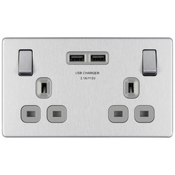 BG Screwless Flat Plate Brushed Steel 13A SP USB Switch Socket