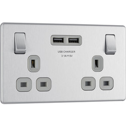 BG BG Screwless Flat Plate Brushed Steel 13A SP USB Switch Socket 2 Gang - 99632 - from Toolstation