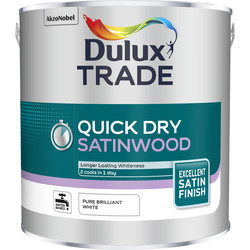 Dulux Trade Dulux Trade Quick Dry Satinwood Paint Pure Brilliant White 2.5L - 99664 - from Toolstation