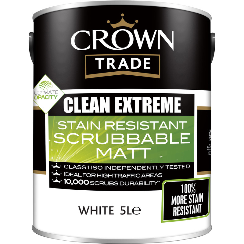 Crown Trade Clean Extreme Scrubbable Matt Emulsion Paint 5L