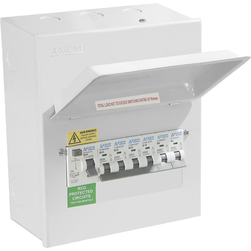 Axiom Metal Consumer Unit + 80A Type A RCD + 6 MCBs