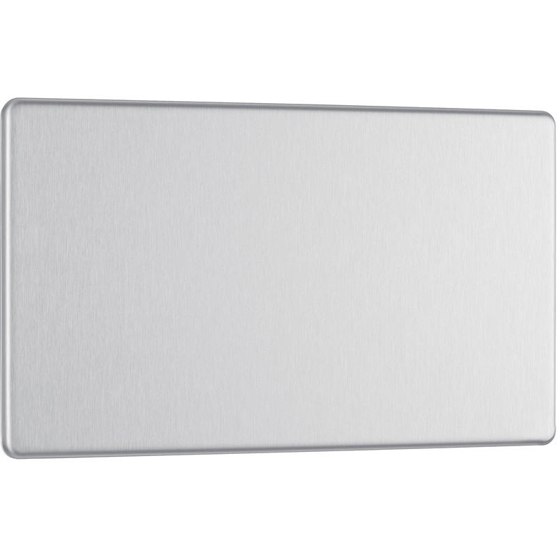 BG Screwless Flat Plate Brushed Stainless Steel Blank Plate
