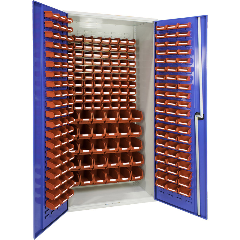 Barton Louvred Panel Cabinet with Red Bins 2000 x 1015 x 430mm