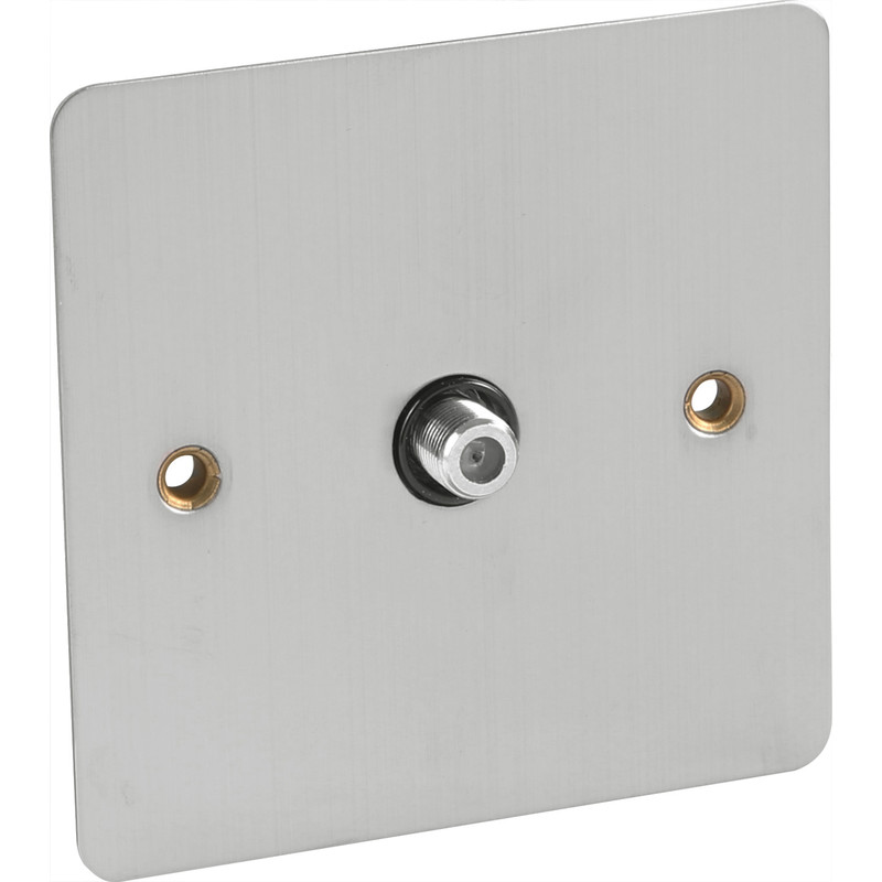 Flat Plate Satin Chrome Satellite Socket Outlet