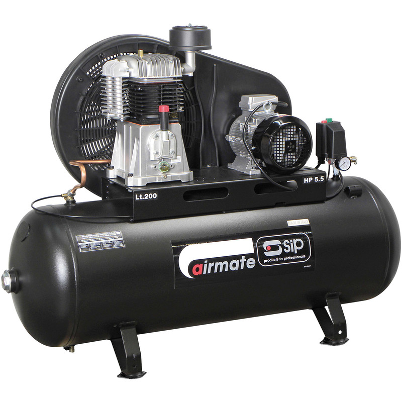 SIP 06583 Oil Lubricated Belt Drive 200L 5.5HP 3 Phase Compressor