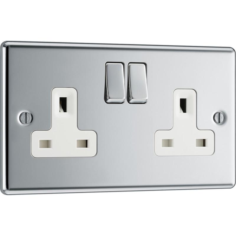 BG Polished Chrome 13A DP Switched Socket