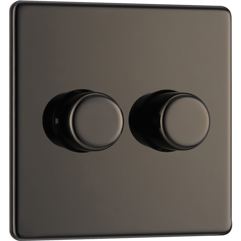 BG Screwless Flat Plate Black Nickel Dimmer Switch