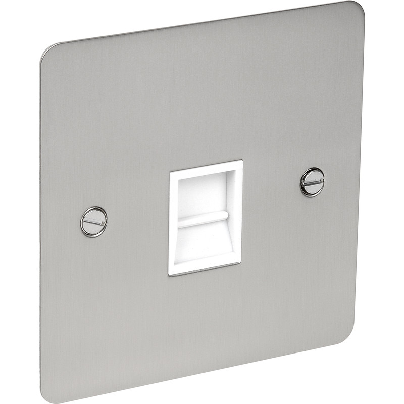 Flat Plate Satin Chrome Telephone Socket
