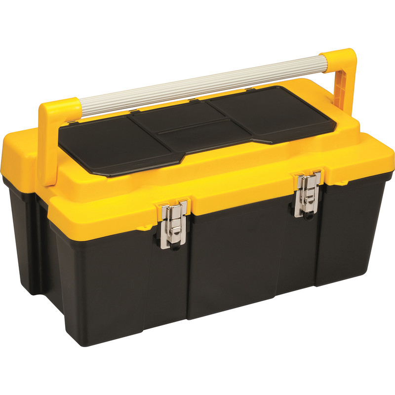 Olympia Metal Latch Toolbox with Lid Organiser and Tote Tray