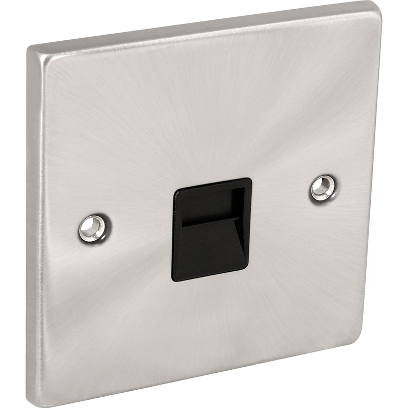 Click Deco Satin Chrome Telephone Socket