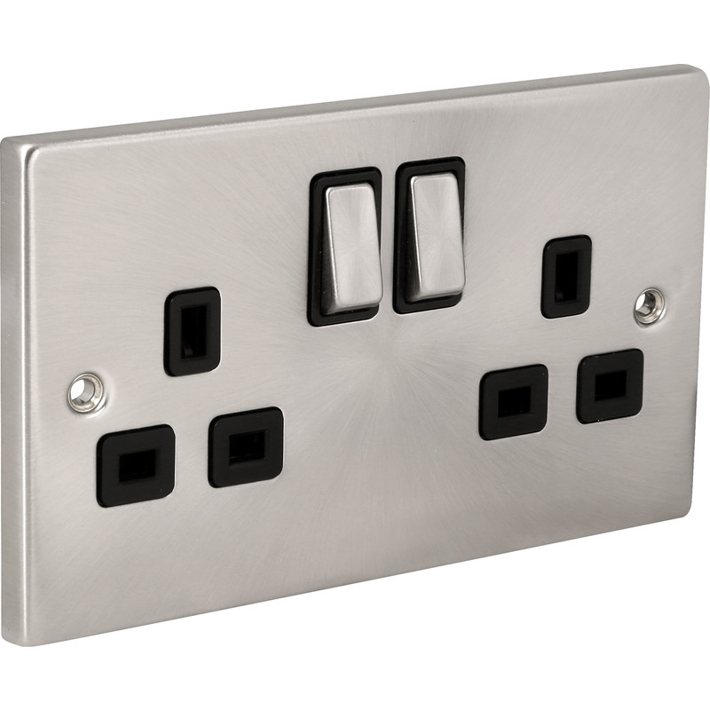 Click Deco Satin Chrome  DP Switched Socket