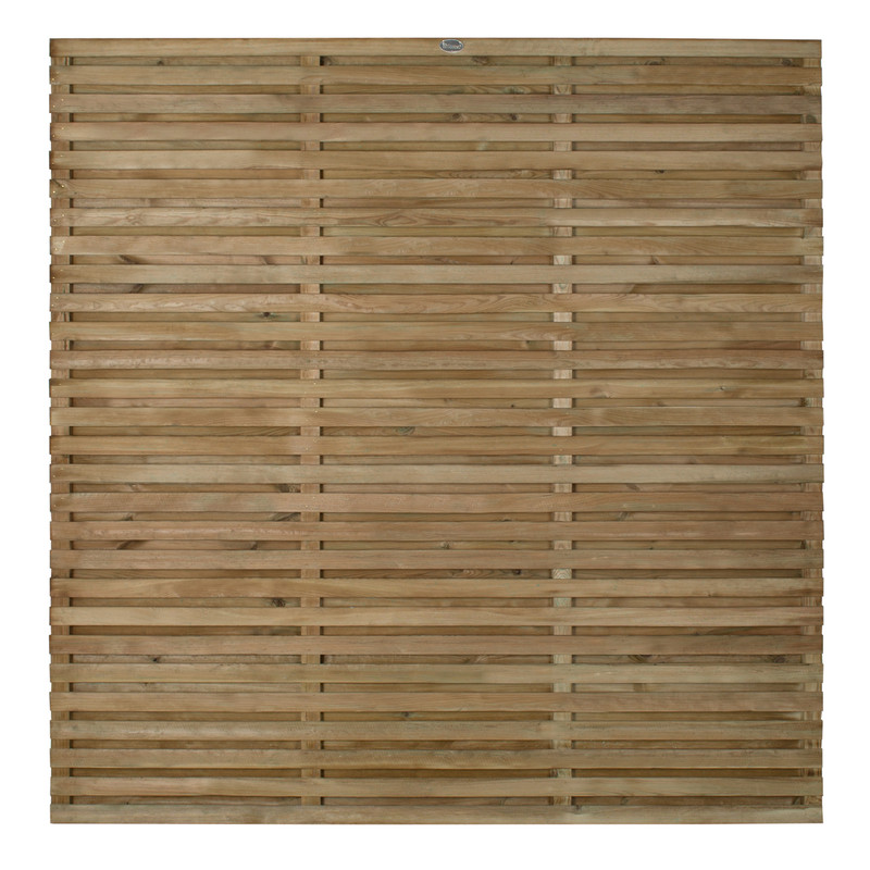 Forest Garden Contemporary Double Slatted Fence Panel - 3 Pack