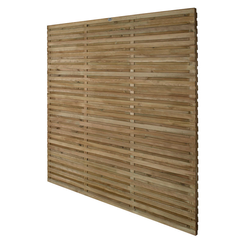 Forest Garden Contemporary Double Slatted Fence Panel - 5 Pack