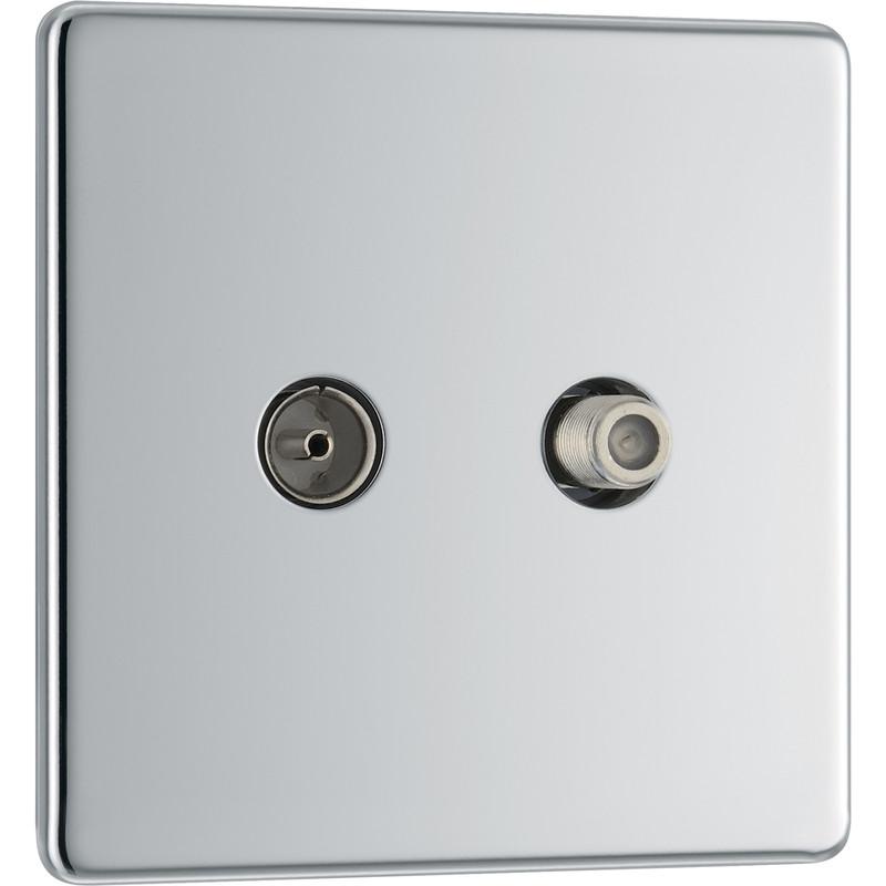 BG Screwless Flat Plate Polished Chrome Coaxial Sockets