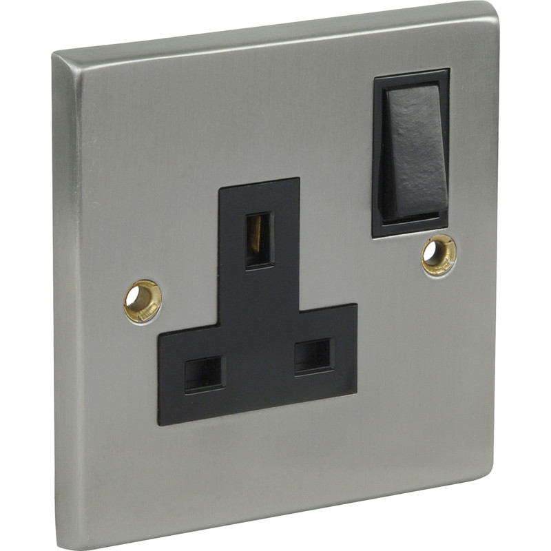 Satin Chrome / Black Switched Socket