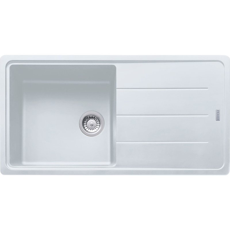 White Single Bowl Kitchen Sink.Franke Basis Fragranite Single Bowl 611 97 Kitchen Sink Drainer Polar White