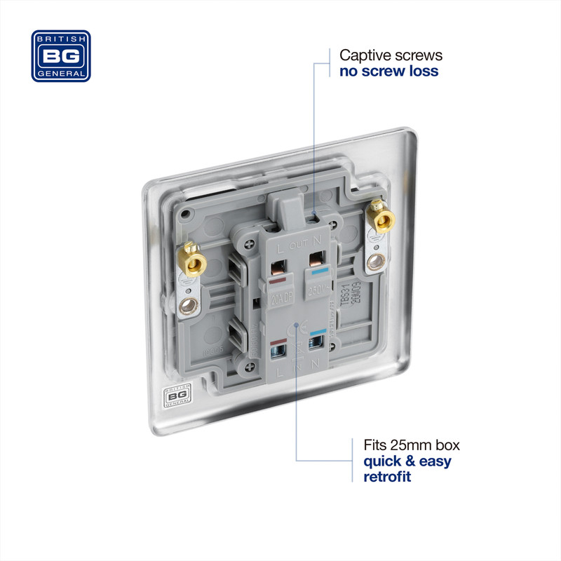 BG Brushed Steel 20A DP Switch