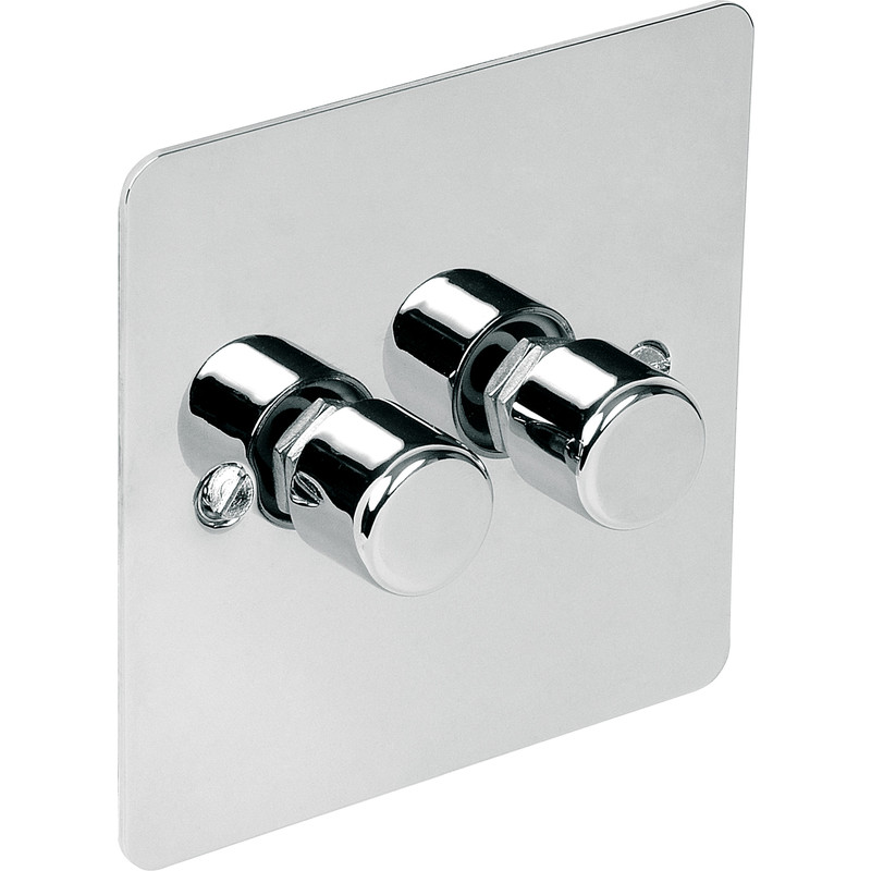 Flat Plate Polished Chrome LED Dimmer Switch