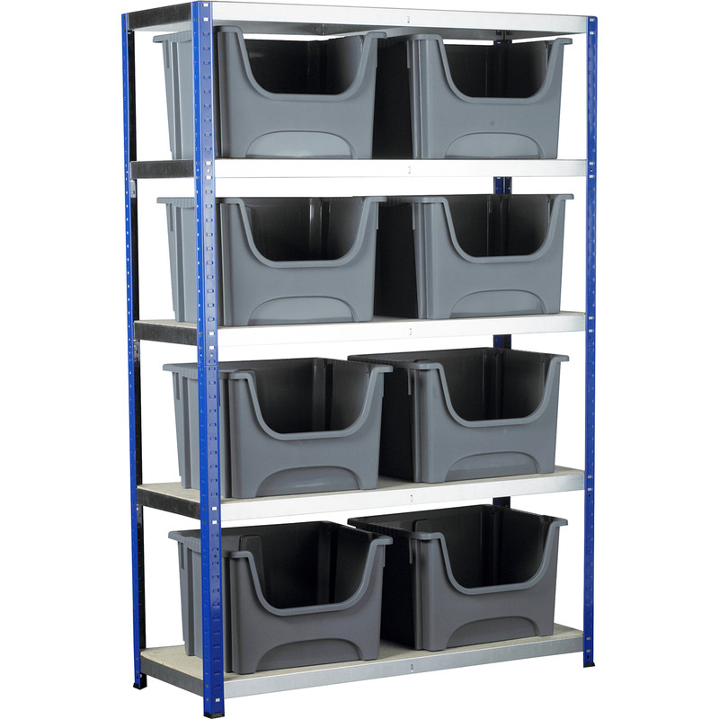 Eco 5 Tier Shelving Bay with Space Saving Containers