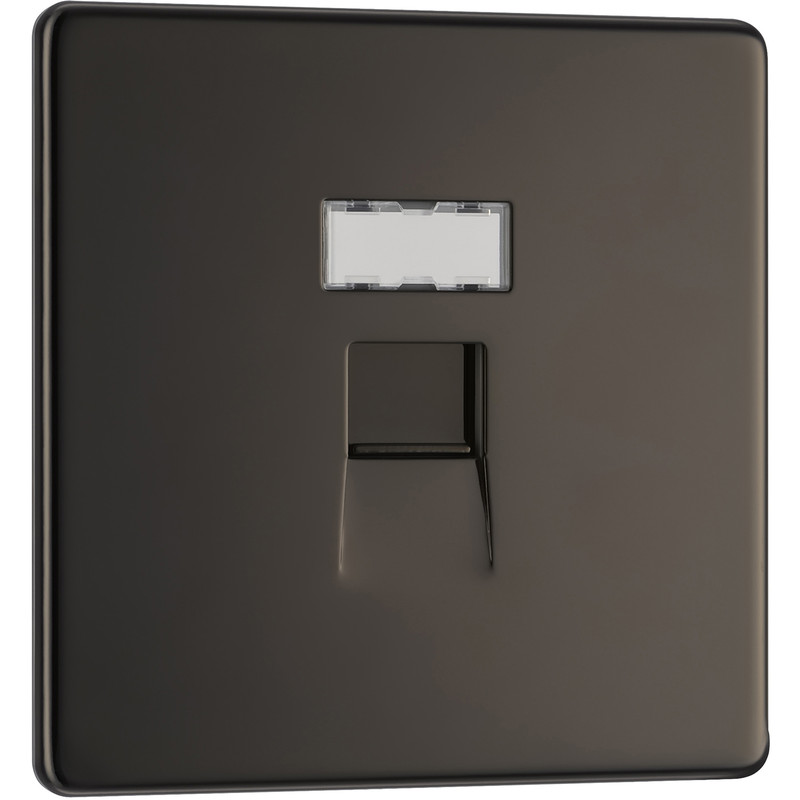 BG Screwless Flat Plate Black Nickel RJ45 Outlet